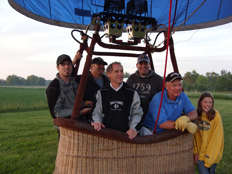Eric riding in a hot air balloon